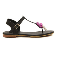 ROMWE Lip and Lipstick Embellishment Black Sandals