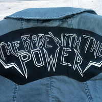 The Babe With The Power top rocker, feminist back patch, Labyrinth patch, david bowie patch, feminism banner patch, patch for biker jacket