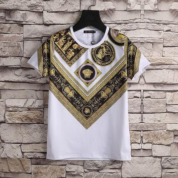 Versace Women or Men Fashion Casual Pattern Print Shirt Top Tee-3