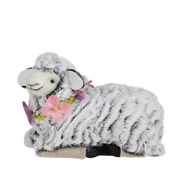 "6.75"" White and Brown Plush Kneeling Sheep Spring Easter Figure"