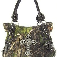 Roomy Soft Velvety Camo Rhinestone Cross Purse Shoulder Handbag Camouflage (Brown)