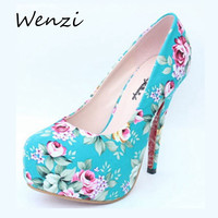 Printing Pumps New Round y Retro High Heels Thin Heels Floral Print High Heels Plus Size Women Printing Pumps Alternative Measures