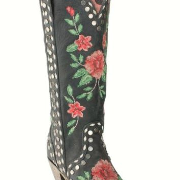Junk Gypsy by Lane Wild Stitch Needlepoint with Studs Tall Boot