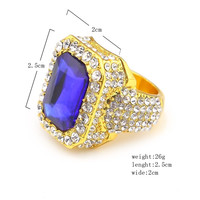 Men Gold Plated Hip Hop Iced CZ Ring