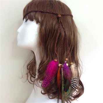 Fashion Indian Beads Feathers Gypsy Hair Headband for Women Girl Boho Hair Accessories Feather Knitted Belt Hair Band