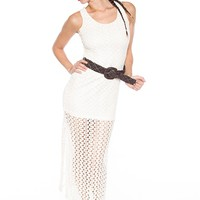 Cozy Chic Crochet Maxi Dress - Ivory from Bohemian at Lucky 21