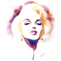 Watercolor painting art print  Marilyn Monroe by sookimstudio