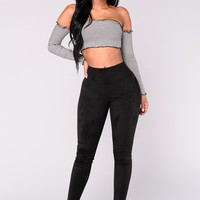 Smooth Operator Suede Leggings - Black