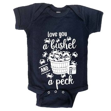 Love You A Bushel & A Peck (Navy) / Baby Onesuit
