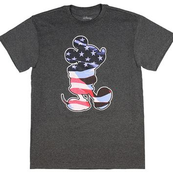 Disney Mickey Mouse Cartoon Waving American Flag Silhouette Men's T-Shirt