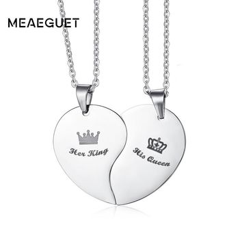 Meaeguet Fashion His Queen & Hers King Crown Heart Necklace Stainless Steel Couple Love Forever Wedding Pendants Jewelry