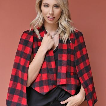 West Coast Wardrobe  Rosie Plaid Cape Blazer in Red/Black
