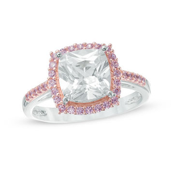 8.0mm Cushion-Cut Lab-Created White and Pink Sapphire Frame Ring in Sterling Silver and 18K Rose Gold Plate