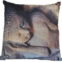 SouvNear Sleeping Buddha Print Decorative Throw Pillow Covers 18x18 Inch Cushion Cover with Hidden Zipper - Golden Grey Faux Silk - Pillowcase - Throw Pillows Case - Living Room Decor - Unique Home Furnishing Ideas for Bed Sofa Couch / Lounge Chair / Ottom