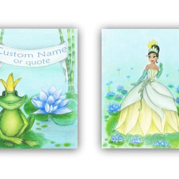 Princess Tiana and The Frog Wall Art, SET of 2 Prints, Baby Girl Nursery, Princess Nursery, Princess and the frog nursery, Disney inspired