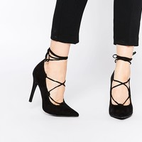 New Look Lace Up Pointed Court Shoe at asos.com