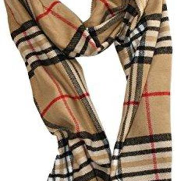 "Soft Plaid Check Winter Scarf Warm Oblong 12""x72"" Fringe Unisex"