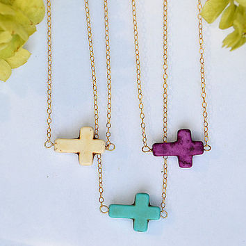 Sideways Turquoise Cross Necklace - tiny horizontal cross - Kelly Ripa, Kourtney Kardashian