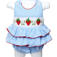 Smocked Baby Girl Strawberry Bubble