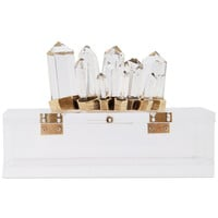 Lucky Brand Gold-Tone and Wood Clear Quartz Jewelry Box