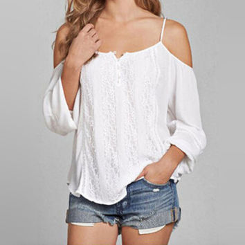 White Strap Lace Cutout-Shoulder Shirt