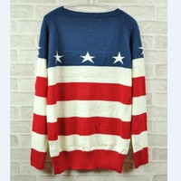 American flag sweaters knitted t-shirts coat from Comostreet