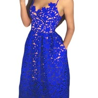 Royal Blue Lace Hollow Out Nude Illusion Cocktail Party Dress