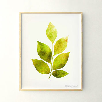 Yellow green leaves print Nature wall decor, Nature art print, 11x14 Living room wall art poster, Green Home decor print Printable art print