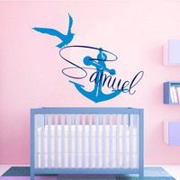 Anchor Wall Decal Boy Personalized Name Stickers Sea Gull Vinyl Decals Monogram Art Bedroom Interior Design Nursery Nautical Decor KI110