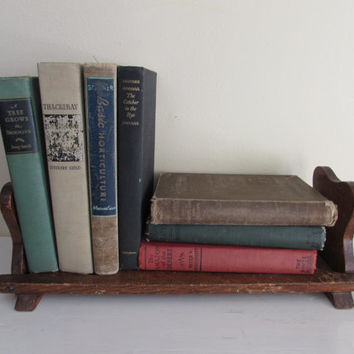 Vintage Oak Book Shelf | Mission Arts and Crafts Style Wooden Bookends | office storage