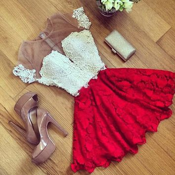 Red white stitching dress Wedding bridesmaid gown Lady