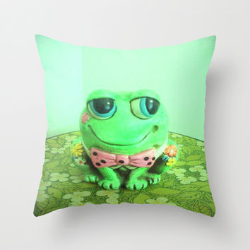 Frog And Flowers Throw Pillow by Vintage  Cuteness