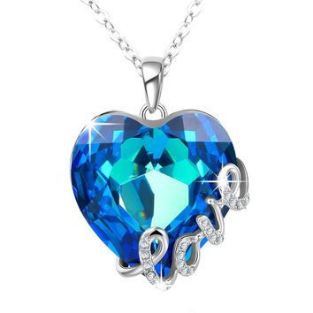 "[Valentines Day Gift]Angelady""Blue Love"" Heart Pendant Necklace of Swarovski Crystal Engraved""Love"" ,Birthday Gifts for Her"