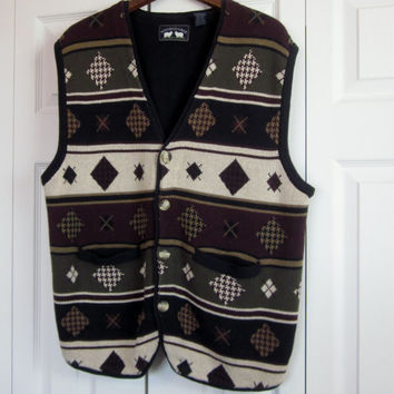 Vintage Sweater Vest Mens XL Sleeveless Cardigan Button Front Cotton Vest Green Geometric Pattern Golf Sweater Woods and Gray