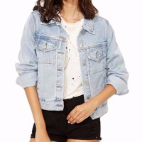 Women's Light Blue Denim Button Front Single Breasted Jean Jacket