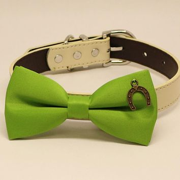 Green Dog Bow tie collar, Dogs birthday gift, Pet wedding, Charm (Horseshoe Good Luck)