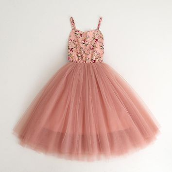 New Baby Girls Floral Mesh Party Dance Pink Sling Fashion Dresses, Princess Kids Long Dazzle Mesh Dress