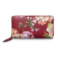 Gucci Shanghai Blooms Red Continental Wallet Leather Authentic Zip Around New