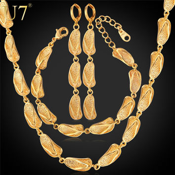 U7 Dubai Gold Color Jewelry Sets For Women Sandal Shapes Earrings Bracelet Necklace Set African Jewelry S659