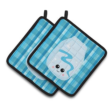Blue Plaid and Milk Pair of Pot Holders BB6846PTHD