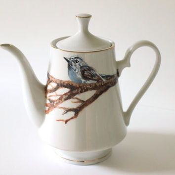 Handpainted Teapot - Nesting Blue Bird - Woodland Animal - Home Decor - Country Kitchen - Fine China Tableware - Original Wildlife Painting