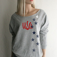 USA Stars Red White & Blue loose fitting wide neck off the shoulder Southern Girl Sweatshirt - FREE Shipping in the USA