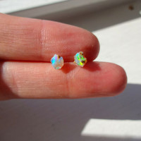 Rough Fire Opal and Sterling Silver Post Earrings