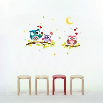 Vinyl Wall Sticker / Decal - Free Shipping - Owl family