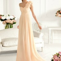 Graceful Sheath/Column One-shoulder Sweep Train Prom Dress
