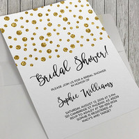 Printable Bridal Shower Invitation, Gold Glitter Confetti, 5x7 Inch, Black and Gold, Classy Bride, Elegant Bride, Baby Shower, Birthday