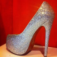 "40% off SAMPLE SALES US8 multi size of stone Bling High heel shoe crystal Heel 6"" Strass w/ Swarovski element"