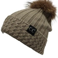 Raccoon Fur C.C. Knit Pom Pom Beanie