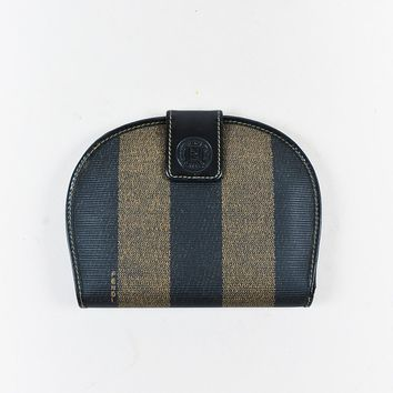 "VINTAGE Fendi Brown Canvas & Leather ""Pequin"" Stripe Wallet"