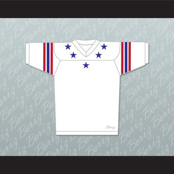 Blue Stars Red and Blue Stripes White Football Jersey Stitch Sewn New